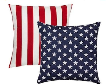 SALE Outdoor American Flag Reversible Pillow Cover 18x18 20x20, Patriotic Pillow, Stars and Stripes Pillow, Red White and Blue, July 4th Dec