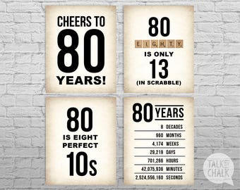 80th Birthday PRINTABLE Sign Pack, 80th Birthday DIGITAL Posters, Cheers to 80 Years Sign, 80th Birthday Decorations, Instant Download