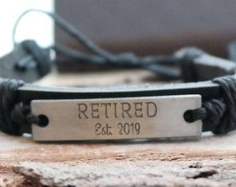 Retired Personalized Black Leather Bracelet - Engraved