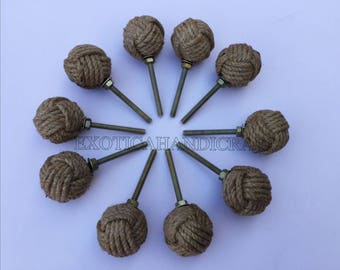Lot of 10pcs Jute Rope Door Knobs-Nautical Beach Seaside Home Decor Rope Knot Drawer Pulls