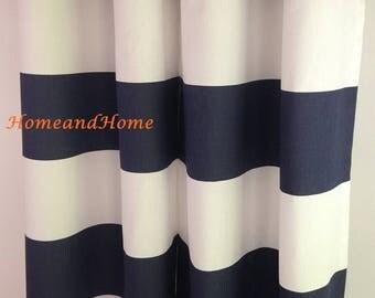 SALE Stripe curtain Rod pockert curtains drapery panels custom drapes window treatment long curtains custom drapery panels Cabana Navy curta
