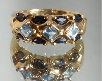 ON SALE 10K Solid Yellow Gold Blue Topaz and Sapphire Ring Retro Vintage