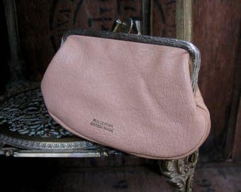 Pink Leather Purse, 1960s Purse, Vintage Leather Purse, Ladies Purse, 1960s Purse, Vintage Purse, Made In England, Coin Purse, Coin Wallet,