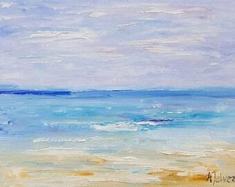 "Seascape painting Beach art Original oil painting Small painting Beach painting Landscape art Seascape oil painting By Alina Jelvez 6x8"""