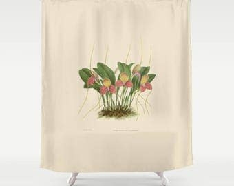 "Botanical Illustration Shower Curtain - 71"" (H) x 74"", Bathroom Decor, Dorm, Girl, Christmas, Plant, Beige, Green, Orchid, Gift, Nature"