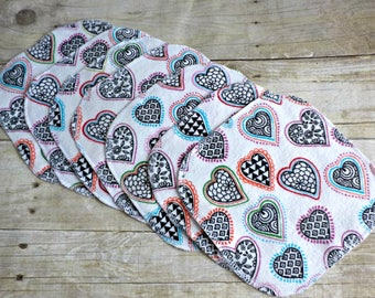 Cloth Wipes/Family Cloth /Flannel Cloth- Set of 7-Hearts