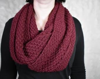 Burgundy scarf Burgundy infinity scarf Knit winter scarf Infinity scarf for women Women's scarf