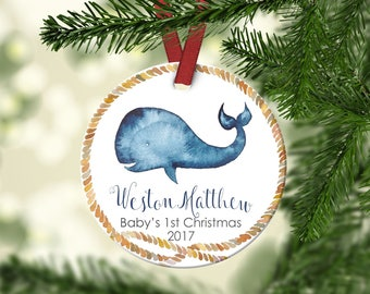 Baby's first Christmas ornament.Boy Ornament.Baby Whale.Nautical.Christmas ornament.Personalized christmas ornament.Baby's first Christmas.