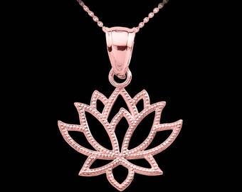 Rose Gold Lotus Flower Pendant Necklace . Flower necklace . Purity Lotus Flower Necklace . Lotus Charm . Namaste Lotus