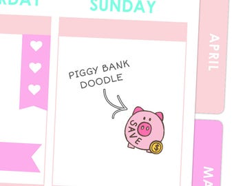Piggy Bank Save Doodle Stickers / Planner Stickers