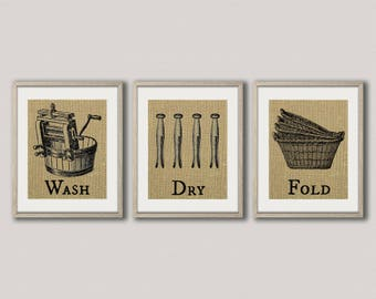 Wash Dry Fold Prints - Set of 3 Burlap Prints - Wash Dry Fold Sign - Laundry Room Decor - Antique Washing Machine - Laundry Prints