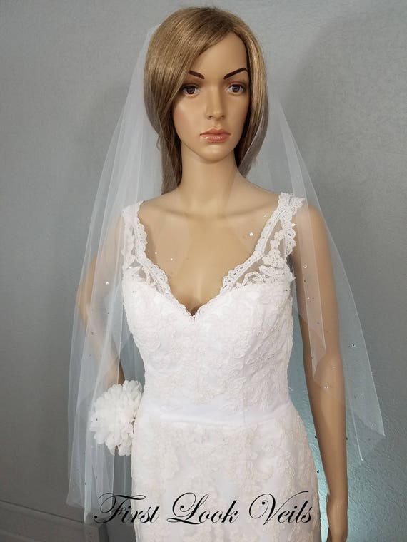 Ivory Wedding Veil Bridal Cathedral, Crystals, One Layer, Accessory, Soft Tulle