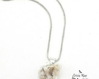 Genuine natural druzy quartz crystal necklace, silver plated chain necklace,  boho jewelry