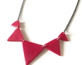 Graduated triangles - handmade polymer clay necklace on black nickel free chain
