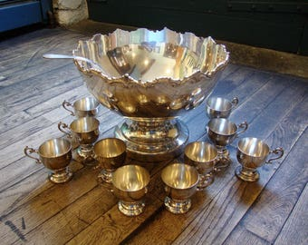 Antique Ornate Heavy Silverplate Punch Bowl Set * Ladle * 10 Cups * Gatsby Era * 1920's 1930's