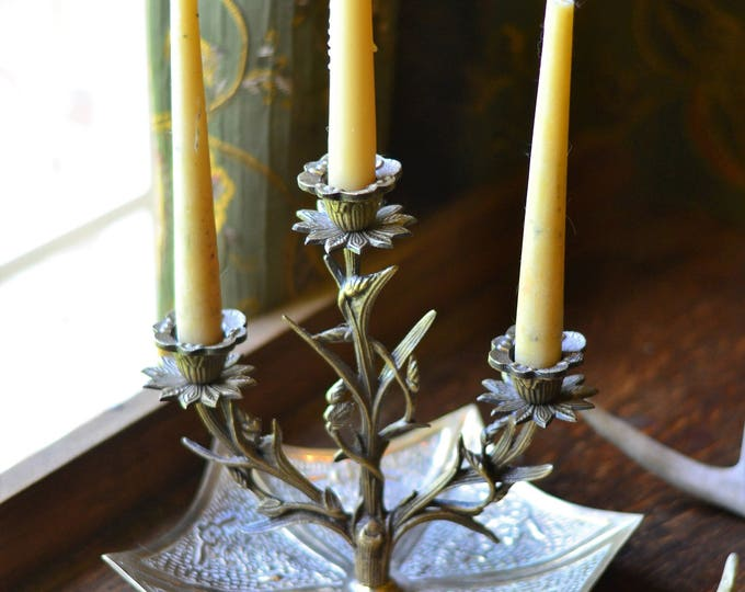 TRIBAL BOHO CANDELABRA candlestick holder, wedding, brass candelabra, table centerpiece, bohemian decor