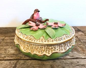 Ceramic Robin Dogwood Powder Box Lidded Trinket Box Green Gold Candy Dish Covered Bowl 8 Inches