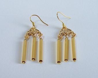 Chandelier earrings on hooks golden bugle beads handmade earrings