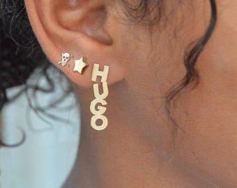 Name earring vertical,Initial stud earring,Name earrings,14k vertical studs,Woman earrings,Vertical earrings gold,Name vertical ear studs.