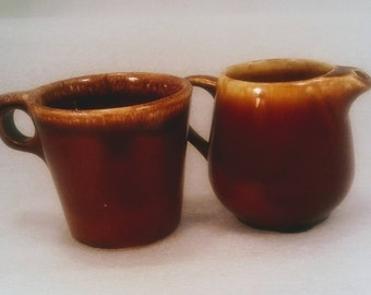 Vintage Hull Brown Drip Glaze Pottery, Creamer and Mug, Collectible, Kitchen Ware