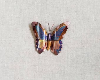 Flame painted copper 2pc. Butterfly, pin
