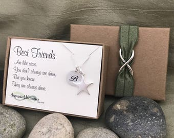 Best Friend Going Away Gift for Best Friends Like Stars Moving Away Long Distance Best Friends Necklace Personalized Gift Friend Graduation