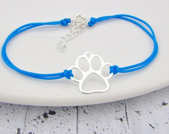 Sterling Silver paw string bracelet, little paw, paw pendant, paw charm, animal, string bracelet, Everyday, dog paw