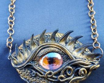 Dragon eye pendant - antique copper dragon eye pendant