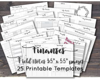 Field Notes inserts travelers notebook wallet insert printable tn money organizer budget planner binder pocket book. Any Re-size is FREE!