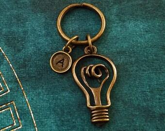Lightbulb Keychain SMALL Bronze Light Bulb Keychain Light Keychain Personalized Keychain Initial Keychain Boyfriend Keychain Keyring Gift