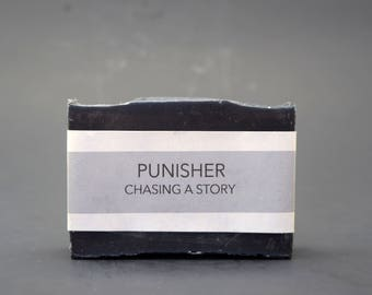 Punisher // Activated Charcoal Soap - Cold Process - Comic Book - TV - Film - Inspired - Oily Skin - Acne Prone - Tea Tree Oil