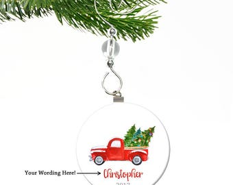 Red Truck Christmas Ornament- Christmas Truck Ornament- Personalized Boy Christmas Ornament- Personalized Kids Christmas Ornament