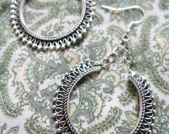 Ethnic silver dangling earrings
