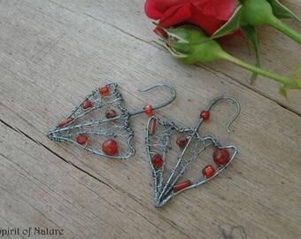 umbrella earrings Rainy day earrings Rain earrings Weather earrings Umbrella jewelry Cloud earrings Red dangle earrings Rain jewelry
