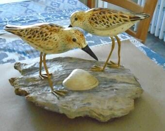 Folk Art Sandpipers on Driftwood