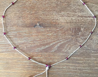 Liquid Silver and Deep Red Stone Necklace in Sterling Silver.