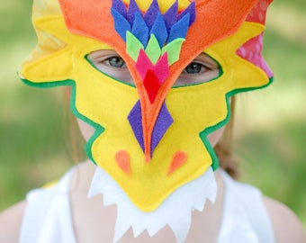 Dragon Mask Rainbow Kids Ages 4 to Adult