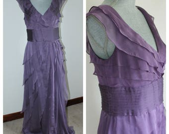 Layered Purple Evening Gown by Adrianna Papell, Ruffled Sleeveless Formal Dress Size 10 Tall