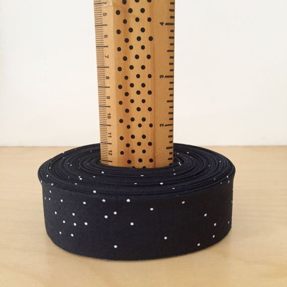 """9 yards of 1.25"""" double-fold quilt binding- Cotton + Steel Sprinkle in Counting Stars- Navy with scattered white dots"""