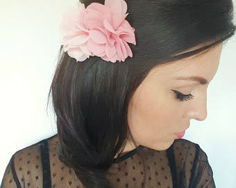 Bridal accessory, pink flower hair comb bridesmaid or bride, wedding hair comb wedding hair