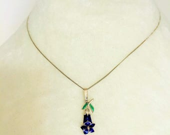 Art Nouveau Enamel Pendant Necklace, Blue Enamel 1920's, Made in Italy