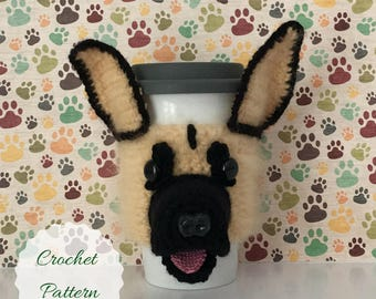 Crochet German Shepherd, Mug Cozy Pattern, Crochet Dog Pattern, Dog Crochet Pattern, Crochet Pattern, PDF Pattern, Amigurumi Pattern