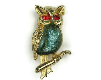 Vintage Jelly Belly Owl Brooch