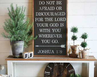 2'X4' Vertical Be Strong And Courageous Joshua 1:9 Arrow Framed Wood Sign Nursery Decor