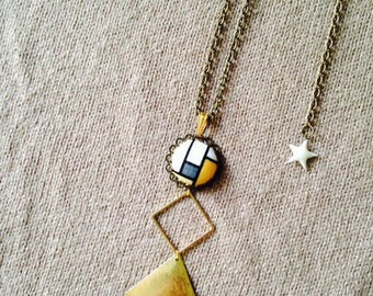 Necklace long Mondrian graphic in fall colors