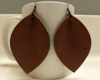 Leather Petal Earrings - Large