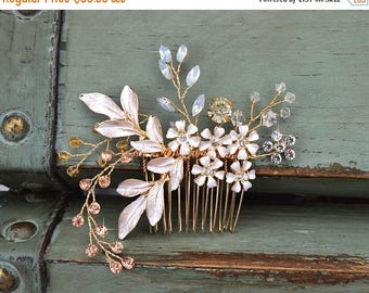 50% OFF Floral Bridal Hair Comb, Gold Wedding Hair Comb,  Rhinestone Bridal Headpiece, Rose Champagne Crystal Romantic Side Comb