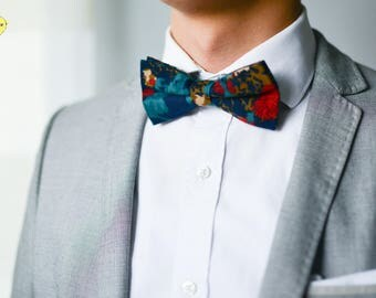 Blue and Green Vintage Bow Tie, Blue and Brown Bow Tie, Vintage Bow Tie, Wedding Bow Tie