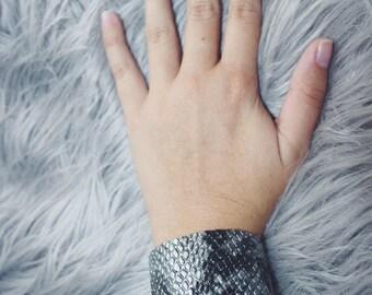 Gray Snakeskin Cuff