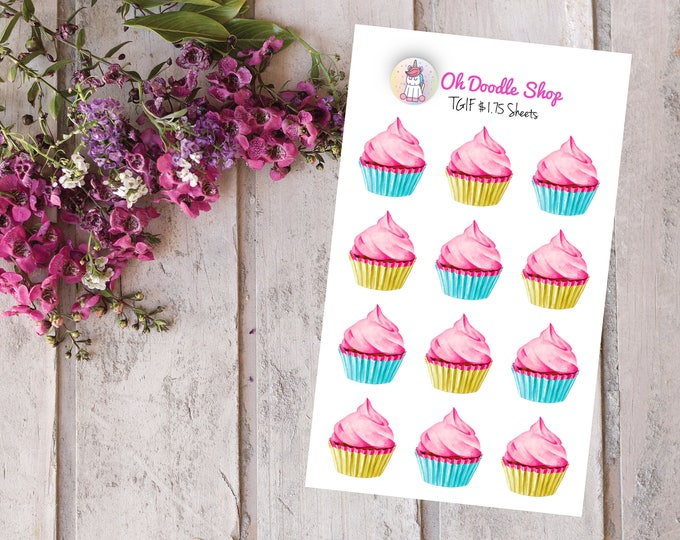 Cupcakes Planner Stickers | 2 Dollar Tuesday